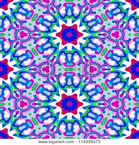 Kaleidoscopic turquoise pink blue white starry decorative tile