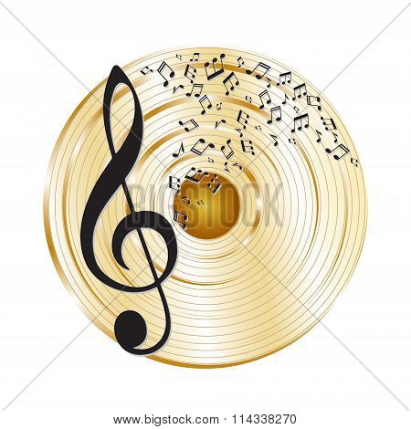 Music gold record.