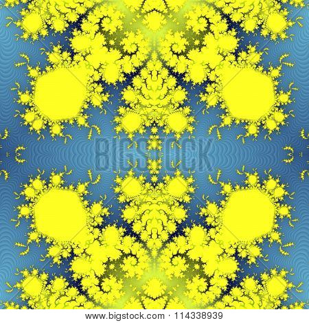 Yellow seamless fractal ornamental pattern on soft gradient blue background