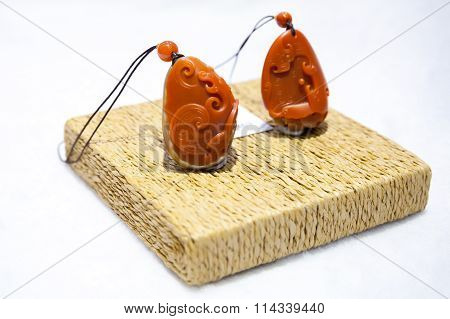 Traditional Chinese Amulets Made Of Red Stone