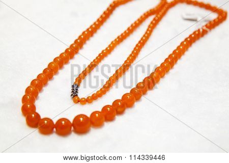 Chinese Necklace Made Of Red Round Agate Stones