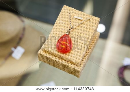 Chinese Stone Amulet Made Of Red Agate