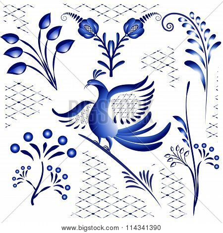 Set Blue Ethnic Elements For Design In Gzhel Style. Twigs, Flowers And Birds Isolated On White Backg