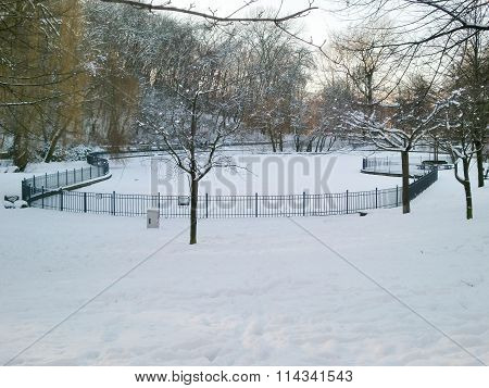 Frozen Pond In Volkspark Friedrichshain, Berlin, Germany