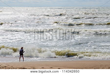 The Girl On The Shore Of The Restless Baltic Sea