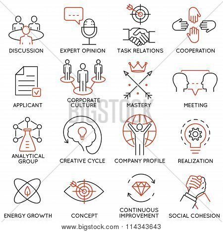 Set of icons related to business management - part 38
