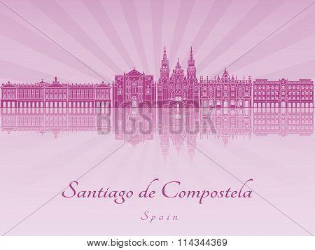 Santiago De Compostela Skyline In Purple Radiant Orchid