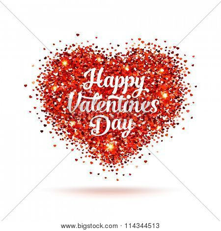 Valentines day illustration. Happy Valentines Day label. Red vector glitters in the shape of heart with slogan on it.