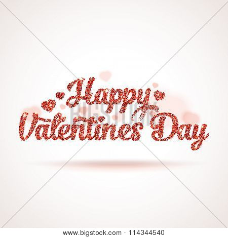 Valentines day illustration. Happy Valentines Day label. Red vector square shape glitters with blurred hearts.