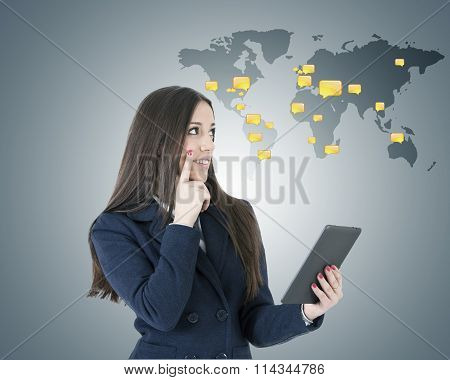 woman with international chat