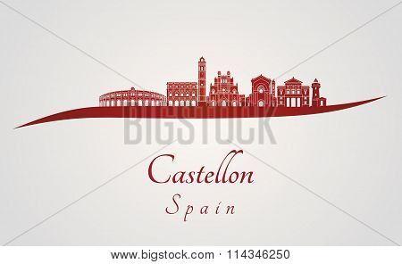 Castellon Skyline In Red