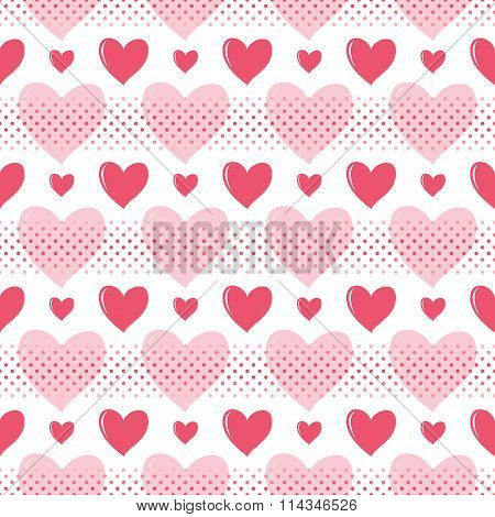 Beautiful Seamless Romantic Pattern Of Hearts And Small Peas