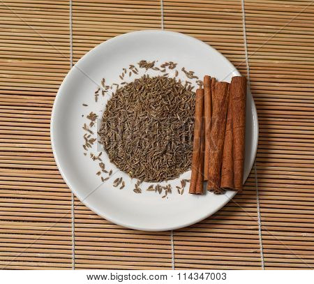 Spices Top View Of The Mat In A White Plate
