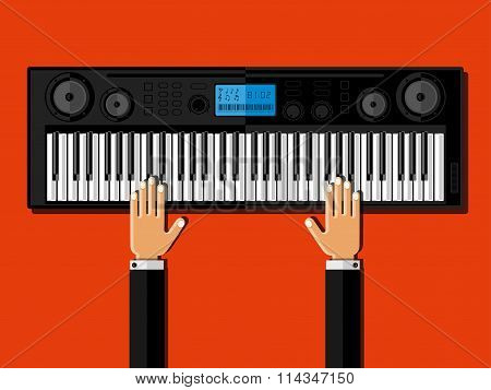 Hands Playing The Synthesizer. Flat Design.