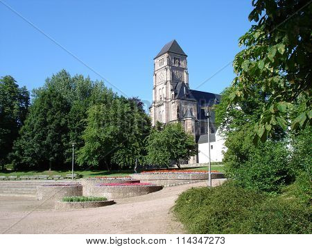 A park and a church