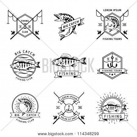 Fishing club vector labels set
