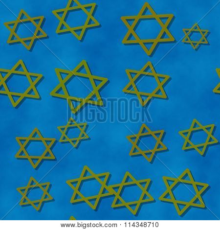 Seamless blue wallpaper with gold six-pointed stars