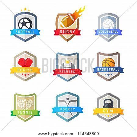 Sport team emblems shields, vector set