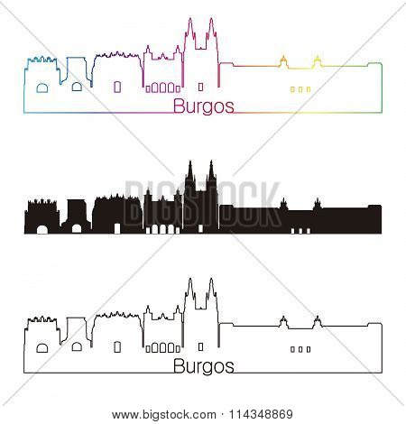 Burgos Skyline Linear Style With Rainbow
