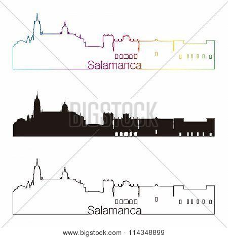 Salamanca Skyline Linear Style With Rainbow