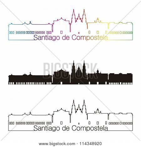 Santiago De Compostela Skyline Linear Style With Rainbow
