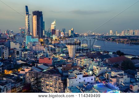 HO CHI MINH, VIETNAM - JAN 13, 2016: Top view of Ho Chi Minh City at night time. From 1887-1901 - Ho Chi Minh City was the capital of French Indochina, 1955-1975 the capital of South Vietnam (Saigon).