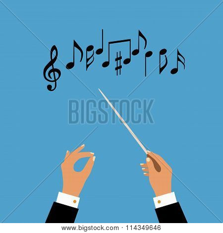 Flat concept of music orchestra or chorus conductor