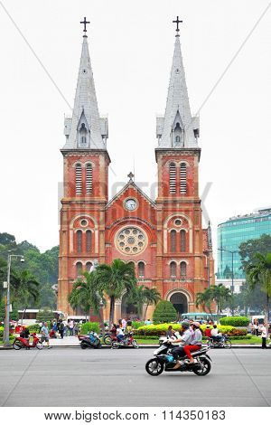 HO CHI MINH CITY, VIETNAM - December 16, 2015: Saigon Notre-Dame Cathedral Basilica (Basilica of Our Lady of The Immaculate Conception) in Ho Chi Minh City (Saigon)