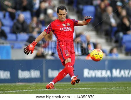 BARCELONA - JAN, 2: Claudio Bravo of FC Barcelona during a Spanish League match against RCD Espanyol at the Power8 stadium on January 2, 2016 in Barcelona, Spain