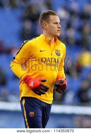 BARCELONA - JAN, 2: Marc-André ter Stegen of FC Barcelona before a Spanish League match against RCD Espanyol at the Power8 stadium on January 2, 2016 in Barcelona, Spain