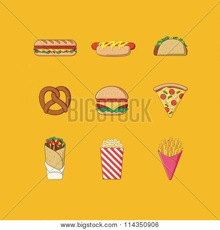 Set of fast food illustration