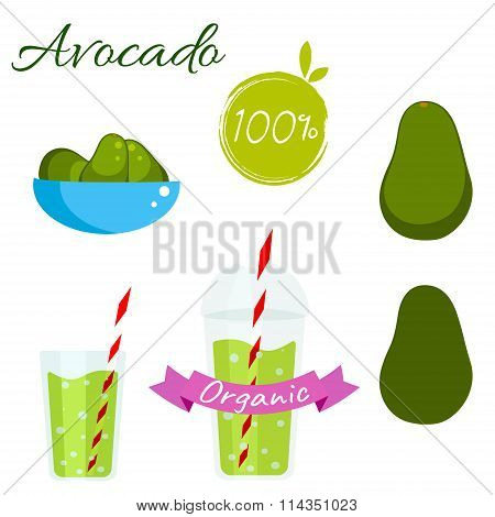 Avocado fruit and juice vector set.