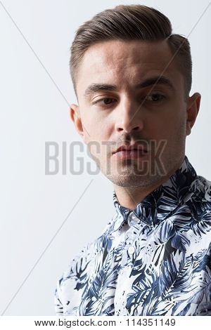 Man In Patterned Shirt