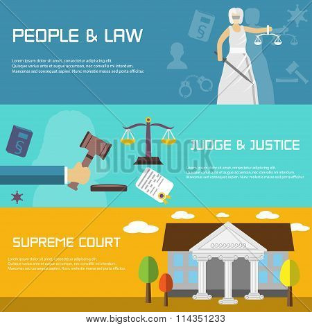 Law Banners In Flat Design Style. Supreme Court.