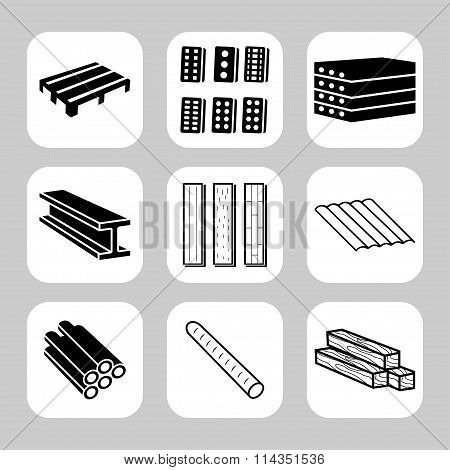 Building And Construction Materials Vector Icon Set