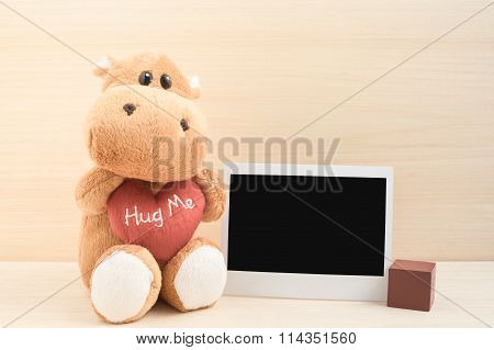 Cute Brown Hippo With Instant Photo Frame