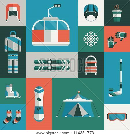 Winter Sports Gear Flat Icon Set