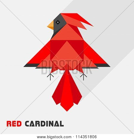 Red Cardinal Bird Triangle Low Polygon Style