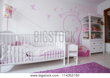 White Crib In Cozy Nursery