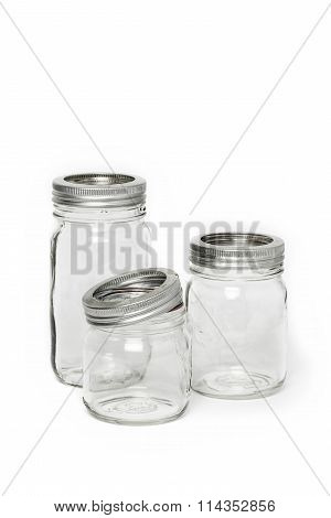 Three Empty Glass Jar