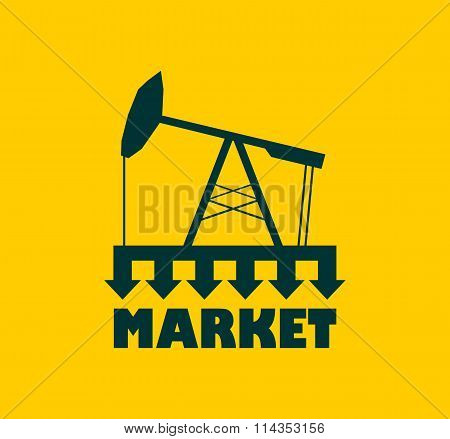 Oil Pump With Arrows. Market Under Pressure