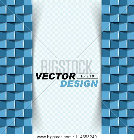 abstract 3d frontal pattern elements on checkered background. eps10 vector design