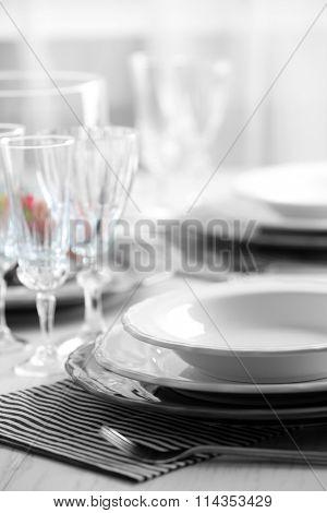 Table set at restaurant, close-up