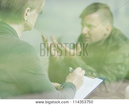 Soldier At Psychotherapist