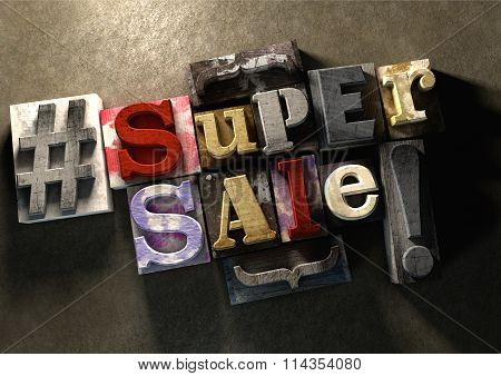 Ink Splattered Printing Wood Blocks With Super Sale Text. Great Texture For Shop Retail Sale, Deal,
