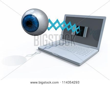 Human Blue Eye Comes Off The Screen Of A Laptop