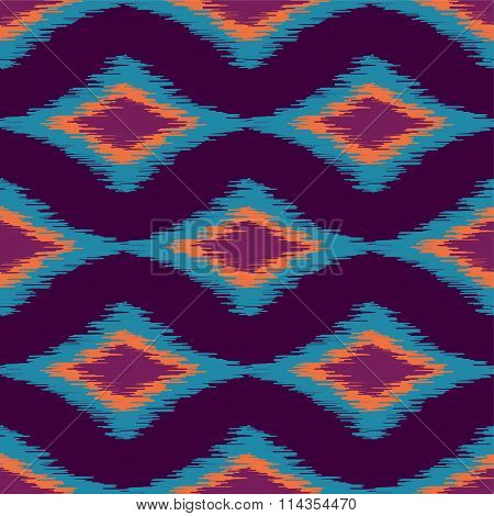 Vector colorful seamless ikat ethnic pattern. American indian style