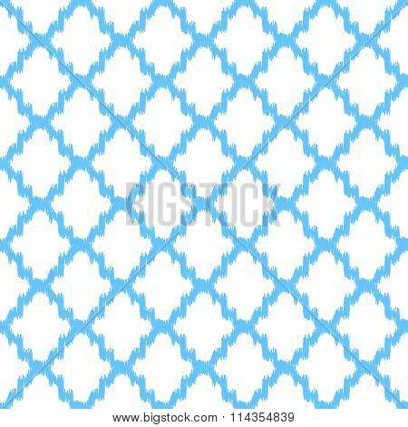 Ikat quatrefoil seamless vector pattern.