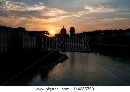 Silhouette of San Giorgio Church at sunset
