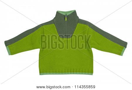 green sweater isolated on white background